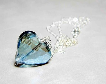 "Ready to Ship Blue AB Freeform Crystal Heart Necklace Sterling Silver - ""Heart of Glass"""