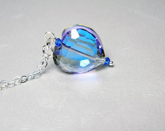 "READY TO SHIP Astral Blue Crystal Heart Necklace Sterling Silver - ""Loyal Heart"""