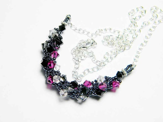"Fuschia Swarovksi Crystal Necklace Crystal Silver Night Jet Silver Shade Sterling Silver Beadweaving - ""Perky Goth"" by Whimsy Beading"