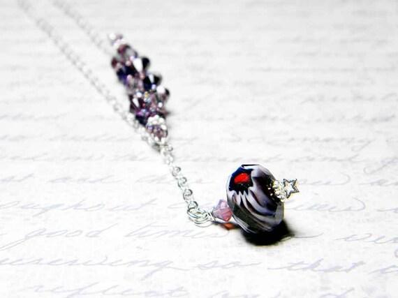 "Jupiter Asymmetrical Swarovski Crystal Necklace Amethyst, Purple Velvet, Light Siam Beadweaving - ""The Great Red Spot"" by Whimsy Beading"
