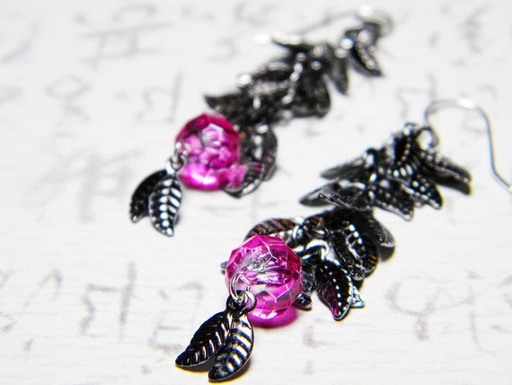 "Steampunk Dark Gunmetal Leaves Earrings Hot Pink Roundelles Sterling Silver - ""Sublime Leaves"" by Whimsy Beading"