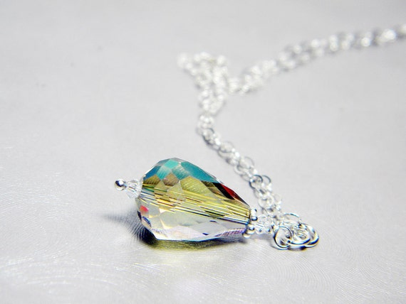 "READY TO SHIP Aqua Green Crystal Teardrop Necklace Sterling Silver - ""Siren's Tear"""