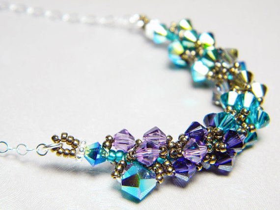 "Peacock Swarovski Crystal Necklace Jet 2X AB Blue Zircon Lilac and Sterling Silver -  ""Ombre dOiseaux"""