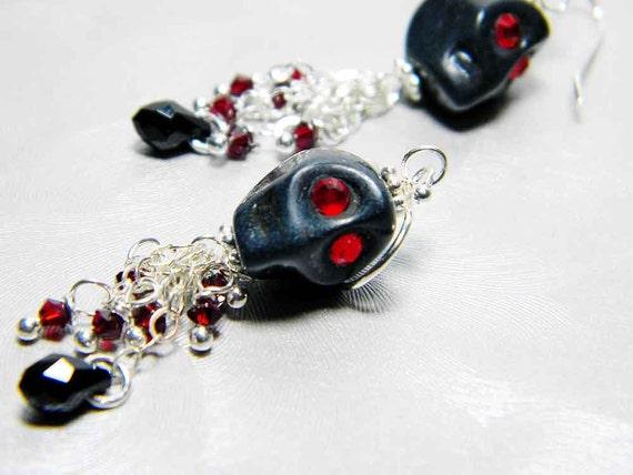 "Black Skull Earrings Swarovski Crystal Sterling Silver Earwires - ""Kim's Calaverita"""