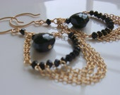 Black Lace - Onyx and Spinel Chain Earrings