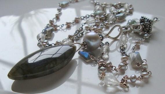 Labradorite Pendant Labradorite Necklace Beryl Pearl Necklace Station Necklace in Oxidized Sterling Silver