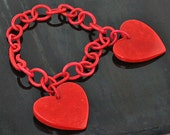 Deco Bakelite Hearts Bracelet - 1930's