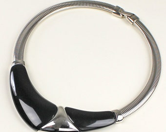 Napier Modernist Black and Chrome Fashion Necklace