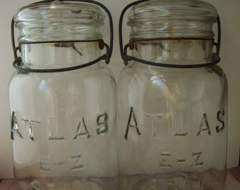 Two Sparkling Vintage Hazel Atlas Canning Jars - Glass Lids and Wire Bails