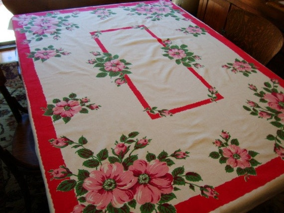 Stunning Vintage STARTEX  Tablecloth with Pink Wild Roses - Great Condition - 63x50
