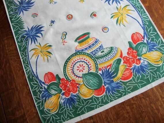 Festive Vintage Tea Towel - Southwest Theme - 17 x 29 - Wonderful Unused Condition