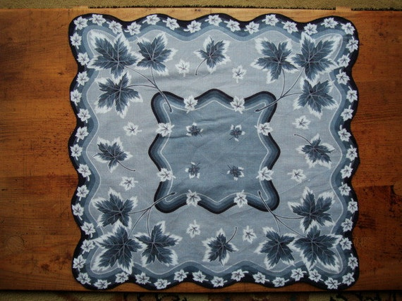 RESERVED FOR S JEN - - - - - Stunning Vintage Hankie in Black Gray and White - Falling Leaves