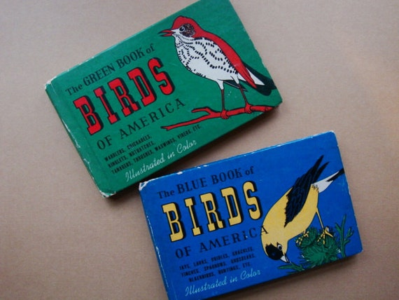 Two Vintage Bird Books - The Blue Book of Birds and The Green Book of Birds - Illustrated - Circa 1930