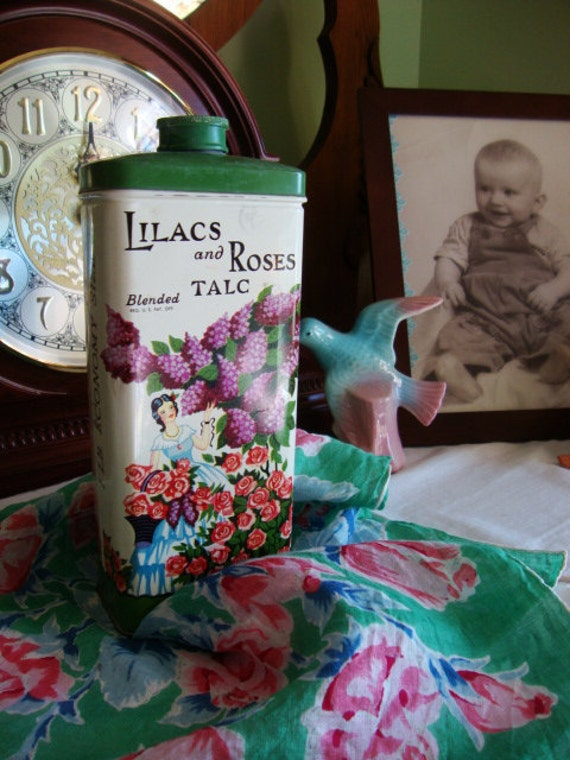 RESERVED for Frances Donahue - - Charming Vintage Talc Tin - Lilacs and Roses by Lander - Awesome Graphics - 1930's