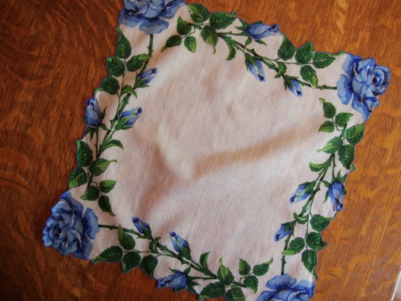 Exquisite Vintage Hanky with Blue Roses - For That Beautiful Bride