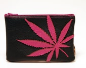 "marijuana leaf mini clutch : ""amsterdamsel"" - hot pink leaf on black vegan leather"
