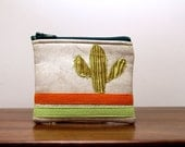 """small cactus coin purse: lime on off-white vinyl - """"painted desert"""""""