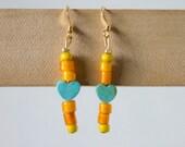 """beaded earrings : turquoise heart & yellow glass bead - """"sweet tarts"""""""