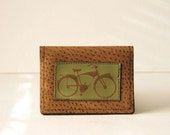 """bicycle wallet / card case - """"easy rider"""" : green bike on tan pleather"""