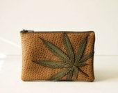 """marijuana leaf zippered pouch - """"every day should be friday"""" : sage green on tan"""