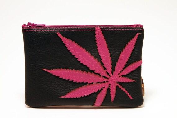 "marijuana leaf mini clutch / vegan pouch : ""amsterdamsel"" - hot pink leaf on black pleather"