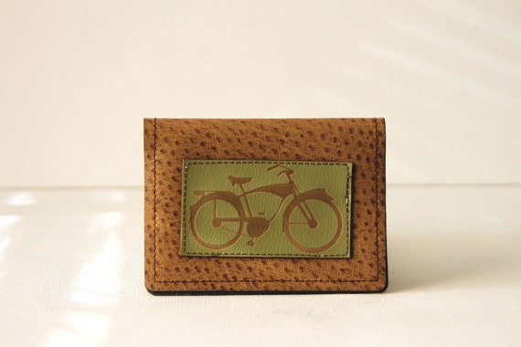 "bicycle wallet / card case - ""easy rider"" : green bike on tan pleather"