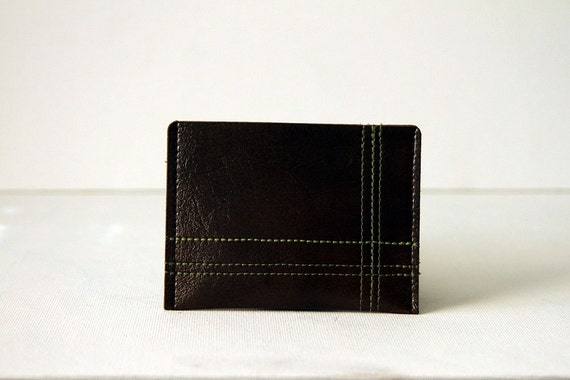"minimalist wallet / card case : lime green on dark brown - ""off the grid"""