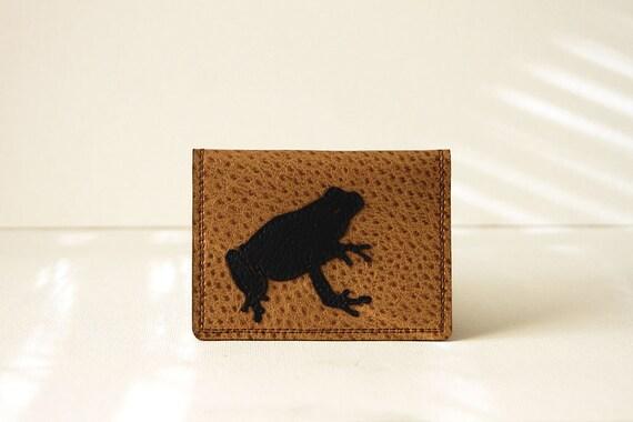 "frog wallet / card case - ""mr. toad's wild wallet"" : black on tan"