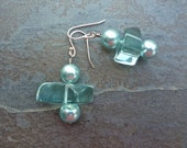 Earrings - blizzard blue-caribbean green glass pearls and quartz