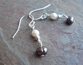 Earrings - black and white pearls by Martha Mary Jewelry on Etsy