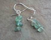Earrings - moss green adventurine chunks by Martha Mary Jewelry on Etsy