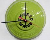 1930 - 1945 SUPER RARE Covered Wagon Travel Trailer Hubcap Clock - Retro Wall Clock