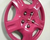 Hot Pink Wall Clock from Recycled Hubcap - Eco Clock - Teen Decor