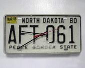 North Dakota License Plate Wall Clock - ND License Tag State Decor - 1980 March 1988