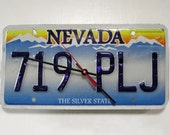 Nevada License Plate Wall Clock - Recycled NV License Tag Clock - Reclaimed Decor