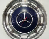 Mercedes Hubcap Wall Clock - Navy Blue Hub Cap