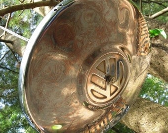 VW Hubcap Bird Feeder - Volkswagen Hanging Birdfeeder - Blue Bird Feeder - Recycled - Volkswagon