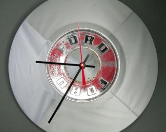 1955 - 1956 Ford Fairlane Hubcap Clock - Classic Car Hub Cap - Red Trim
