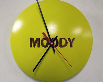 Mellow Yellow MOODY Wall Clock from Recycled Hubcap - Teen - Boss Gift - Yellow Clock - Back to School - Dorm Decor
