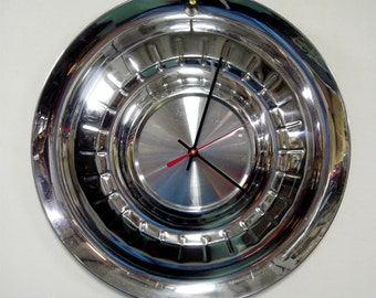 Plymouth Wall Clock made from a 1955 Belvedere Savoy Plaza Hubcap - Unique Men's Gift