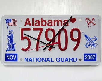 Alabama Wall Clock - National Guard License Plate - Recycled AL License Tag - Patriotic 4th July