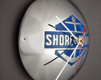 Shore Station Hubcap Clock - Blue Anchor Wall Decor - Beach House Time