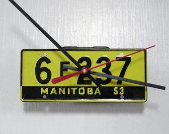 Vintage 1953 Manitoba Bicycle License Plate Wall Clock - Mini License Tag - Canada