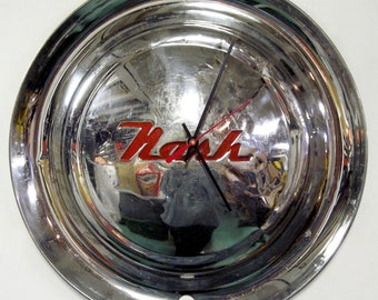 1952 - 1955 Nash Hubcap Wall Clock - 1953 1954 Classic Car Decor - Mid Century Modern - 1950's Wall Art