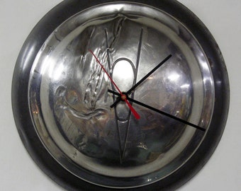 1938 Ford V8 Hubcap Clock - Gray and Chrome Wall Clock - Shabby Chic Decor