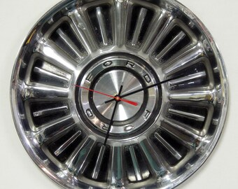 Ford Wall Clock - 1967 Ford Fairlane and Galaxie Hubcap Clock - Retro Vintage Hub Cap Decor - Gifts for Men