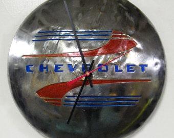 Chevrolet Hubcap Clock - 1941 - 1948 Chevy Classic Car Pickup Truck Wall Clock - Wall Decor - Wall Art - 1942 1943 1944 1945 1946 1947