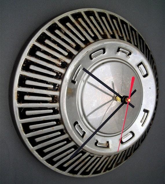 Ford Hubcap Clock - 1965 - 1967 Falcon Fairlane Galaxie Wall Clock - 1966 Classic Car Wall Decor