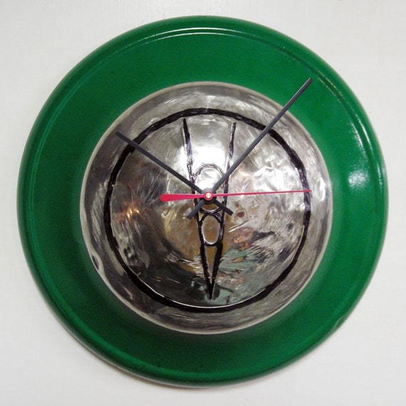 Emerald Green 1936 Ford V8 Hubcap Clock - Retro Kitchen Wall Clock - Father's Day Gift - Husband Gift