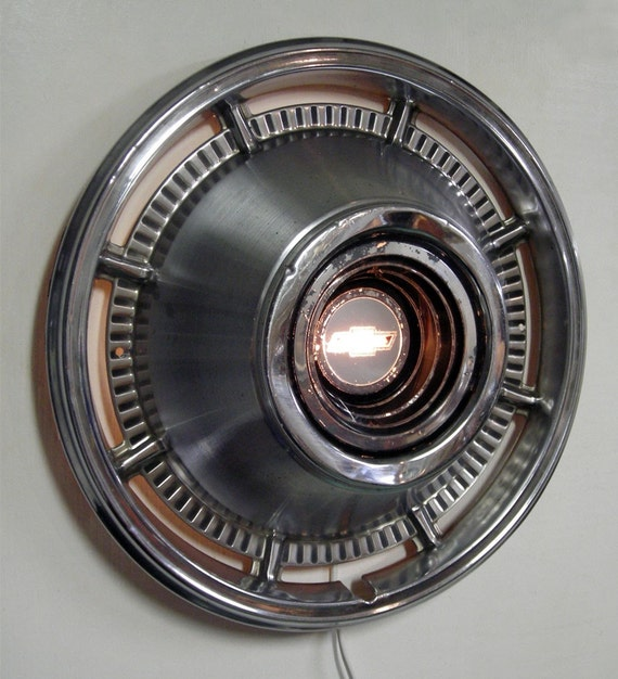 Recycled Lighting - 1966 Chevrolet Impala Hubcap Wall Lamp - Retro Wall Sconce - Chevy Bowtie